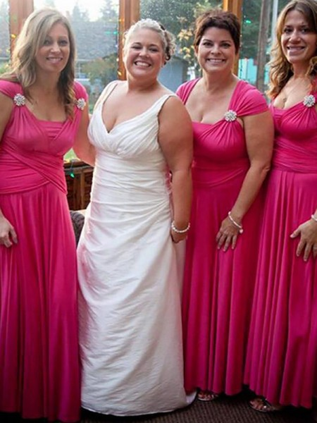 A-Line/Princess Straps Floor-Length Chiffon Bridesmaid Dresses