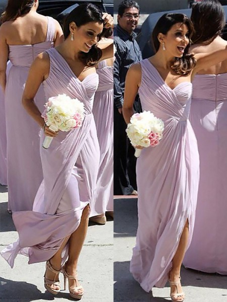 A-Line/Princess One-Shoulder Chiffon Ruched Floor-Length Bridesmaid Dresses
