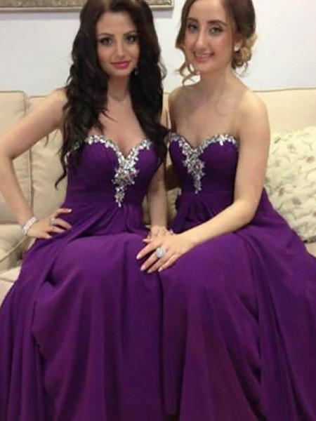 A-Line/Princess Sweetheart Chiffon Floor-Length Bridesmaid Dresses with Beading