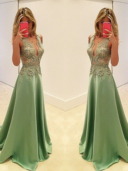 A-Line/Princess V-neck Sweep/Brush Train Sleeveless Satin Dresses with Applique
