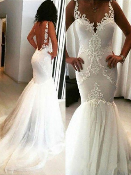 Trumpet/Mermaid Chapel Train Spaghetti Straps Tulle Wedding Dresses with Applique