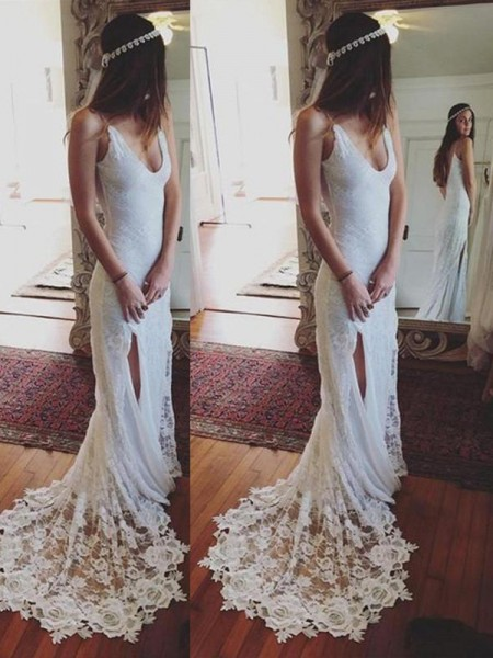 Sheath/Column Straps Lace Court Train Wedding Dresses