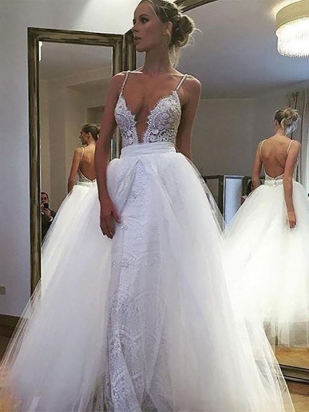 A-Line/Princess Tulle Lace Spaghetti Straps Floor-Length Wedding Dresses