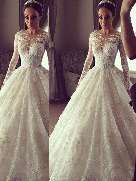 Ball Gown Scoop Court Train Lace Wedding Dresses