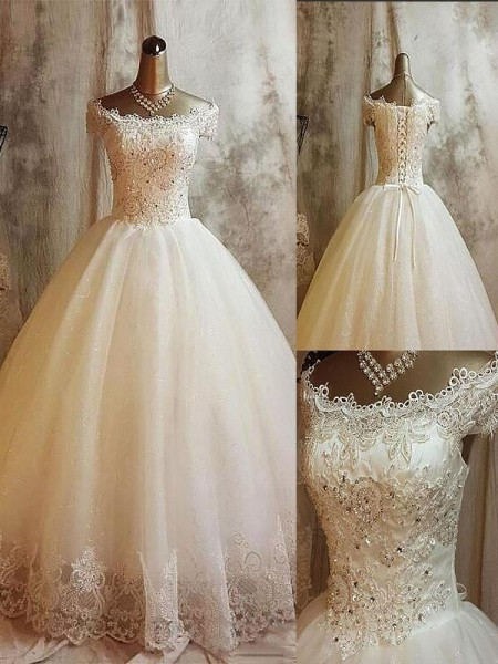Ball Gown Off-the-Shoulder Sweep/Brush Train Tulle Wedding Dresses with Applique