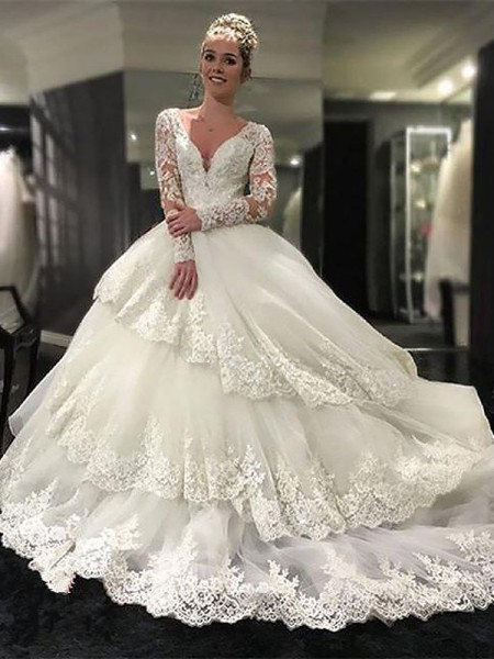 Ball Gown V-neck Lace Tulle Court Train Wedding Dresses