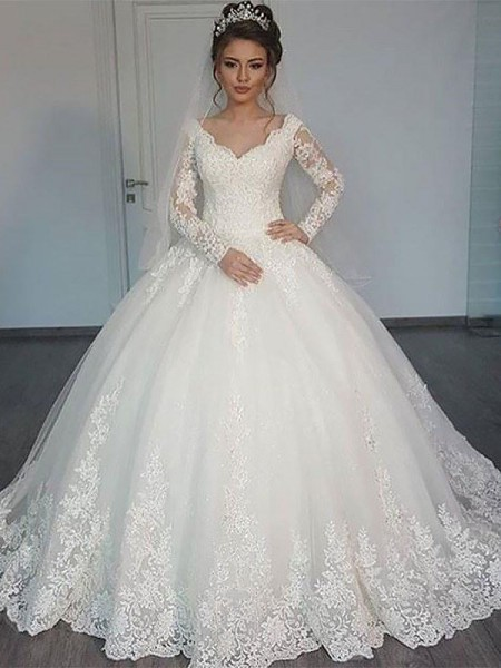 Ball Gown Court Train V-neck Tulle Wedding Dresses