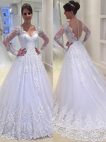 A-Line/Princess V-neck Court Train Tulle Wedding Dresses with Applique