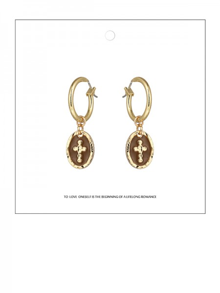 Latest Design Zinc Alloy Cross Earrings