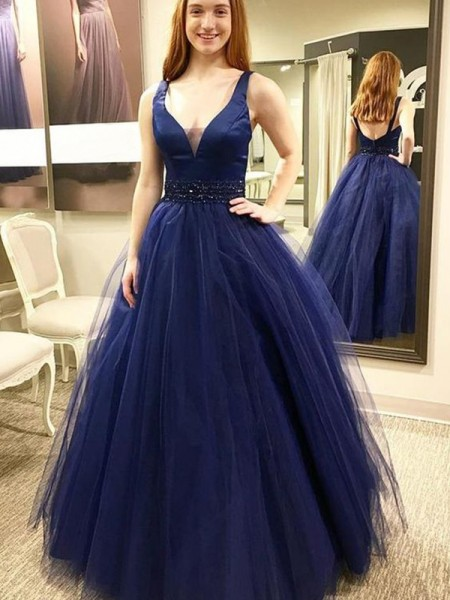 Ball Gown Sleeveless V-neck Floor-Length Tulle Dresses with Beading