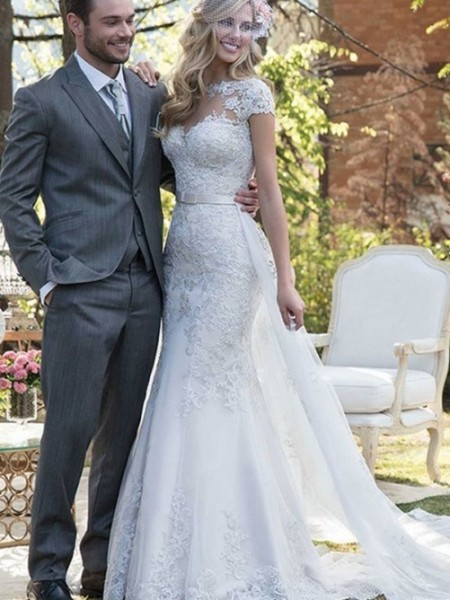 Trumpet/Mermaid Tulle Bateau Short Sleeves Sweep/Brush Train Wedding Dresses with Sash/Ribbon/Belt