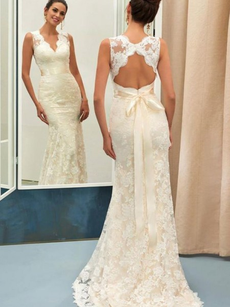 Trumpet/Mermaid Lace V-neck Sleeveless Sweep/Brush Train Wedding Dresses with Sash/Ribbon/Belt