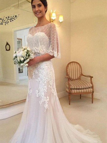 Sheath/Column Tulle Sweetheart Sleeveless Sweep/Brush Train Wedding Dresses with Applique