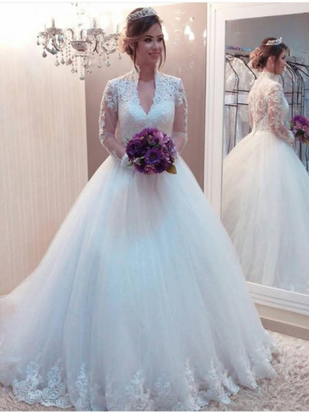 Ball Gown Tulle High Neck Long Sleeves Sweep/Brush Train Wedding Dresses with Applique