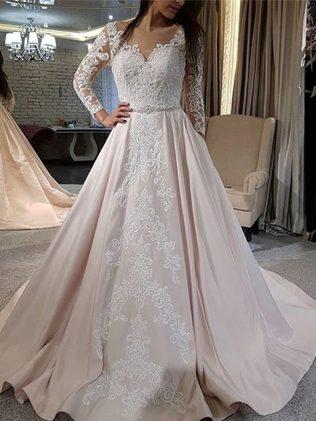 A-Line/Princess Satin V-neck Long Sleeves Sweep/Brush Train Wedding Dresses with Applique