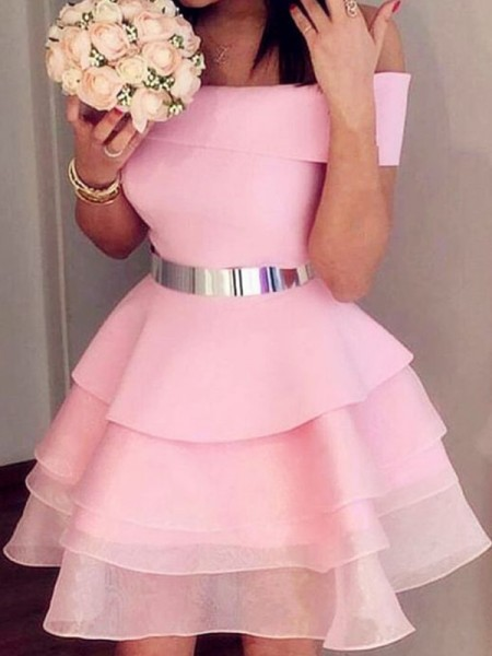 A-Line/Princess Organza Off-the-Shoulder Sleeveless Short/Mini Homecoming Dresses with Sash/Ribbon/Belt