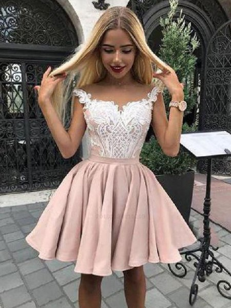 A-Line/Princess Satin Off-the-Shoulder Sleeveless Short/Mini Homecoming Dresses with Applique