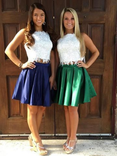 A-Line/Princess Satin Sheer Neck Sleeveless Short/Mini Two Piece Homecoming Dresses with Ruffles