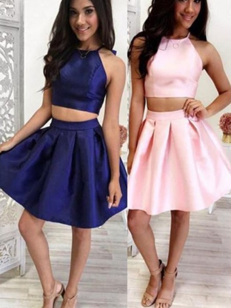 A-Line/Princess Satin Halter Sleeveless Short/Mini Two Piece Homecoming Dresses with Ruffles