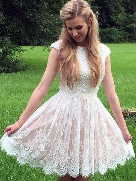 A-Line/Princess Lace Pearls Sheer Neck Sleeveless Short/Mini Homecoming Dresses