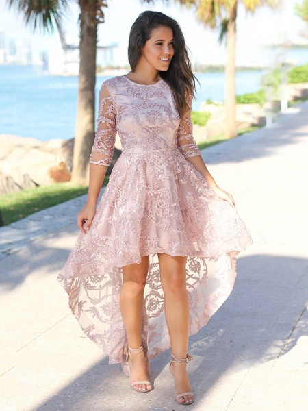 A-Line/Princess Satin Sheer Neck 3/4 Sleeves Asymmetrical Homecoming Dresses with Applique