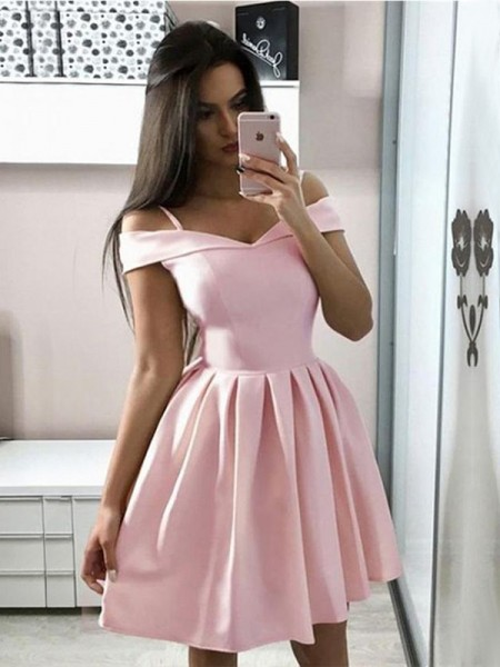 A-Line/Princess Satin Off-the-Shoulder Sleeveless Short/Mini Homecoming Dresses with Ruffles