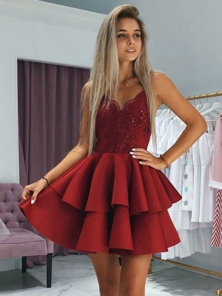 A-Line/Princess Satin Spaghetti Straps Sleeveless Short/Mini Homecoming Dresses with Ruffles
