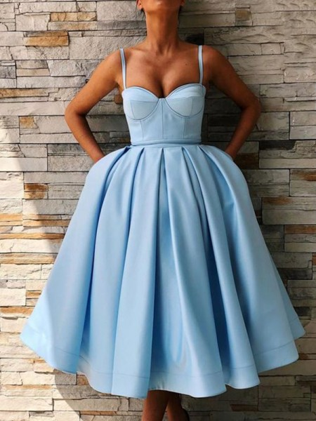 Ball Gown Satin Spaghetti Straps Sleeveless Tea-Length Homecoming Dresses with Ruffles