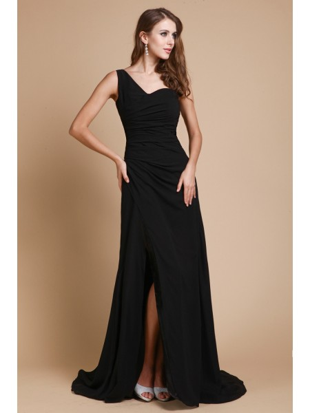 A-Line/Princess One-Shoulder Ruffles Chiffon Dress