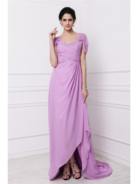 Sheath/Column Square Embroidery Chiffon Mother of the Bride Dress