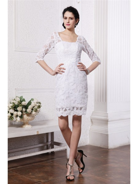 Sheath/Column Half Sleeves Bateau Short Lace Wedding Dress