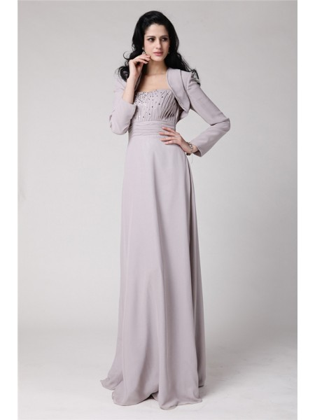 Sheath/Column Strapless Pleats Chiffon Mother of the Bride Dress