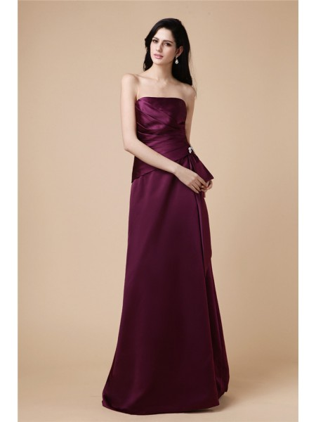 A-Line/Princess Strapless Pleats Long Satin Dress