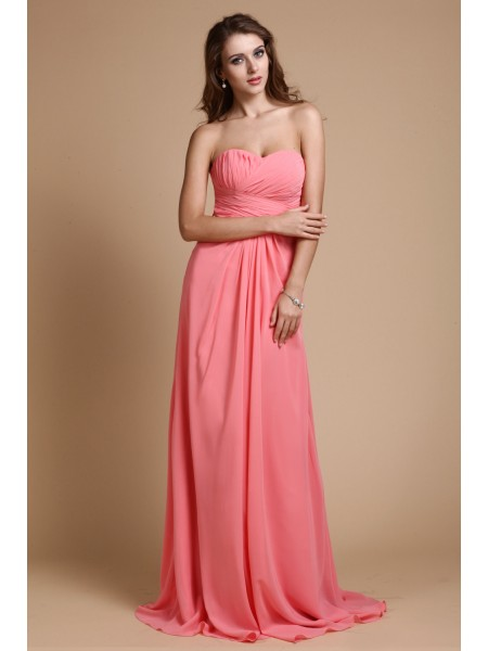 A-Line/Princess Sweetheart Ruffles Chiffon Long Bridesmaid Dress