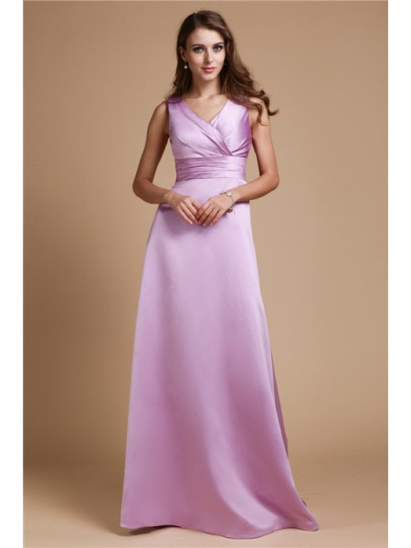 A-Line/Princess V-neck Long Elastic Woven Satin Bridesmaid Dress