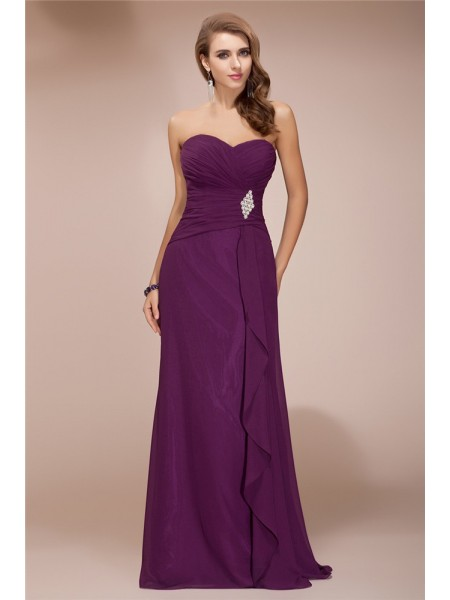 Sheath/Column Sweetheart Ruffles Chiffon Bridesmaid Dress