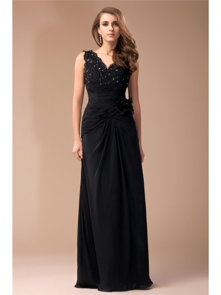 Sheath/Column V-neck Long Lace Chiffon Dress