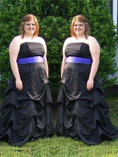 A-Line/Princess Strapless Sweep/Brush Train Satin Plus Size Dresses