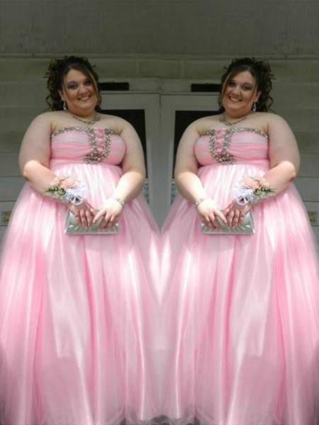 A-Line/Princess Strapless Floor-Length Satin Plus Size Dresses with Beading