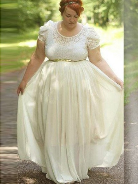 A-Line/Princess Scoop Lace Floor-Length Chiffon Plus Size Dresses