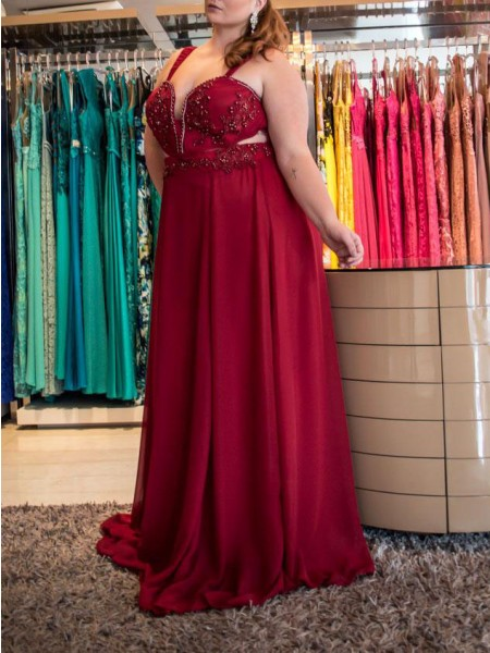 A-Line/Princess Straps Sweep/Brush Train Chiffon Plus Size Dresses with Beading