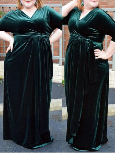 Sheath/Column V-neck Floor-Length Velvet Plus Size Dresses with Ruched