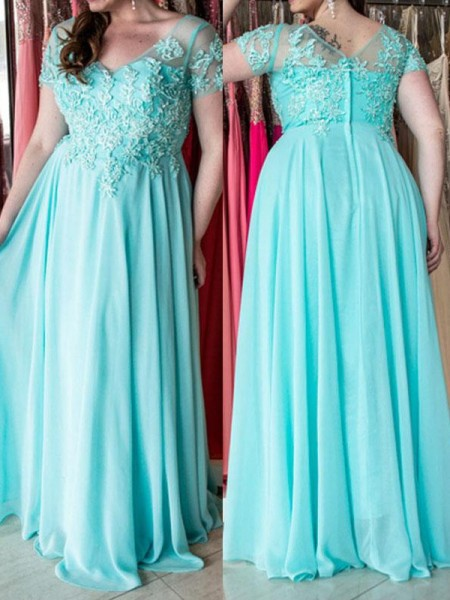 A-Line/Princess Sweetheart Floor-Length Chiffon Plus Size Dresses with Applique