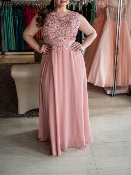 A-Line/Princess Bateau Floor-Length Chiffon Plus Size Dresses with Beading