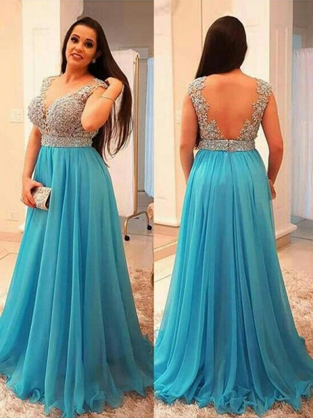 A-Line/Princess V-neck Floor-Length Chiffon Plus Size Dresses with Beading