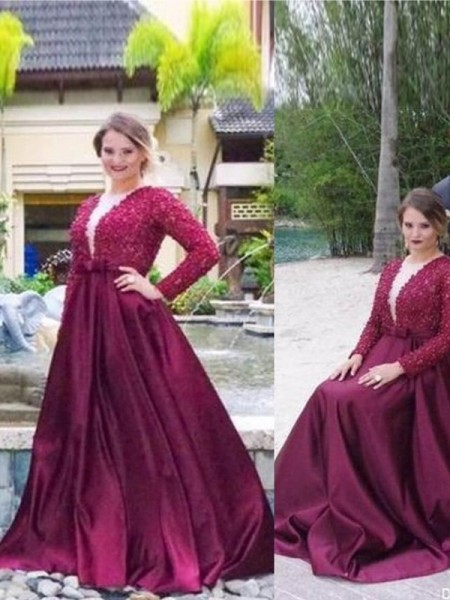 A-Line/Princess V-neck Sweep/Brush Train Satin Plus Size Dresses with Beading