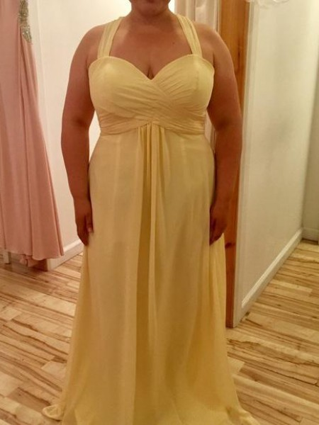 A-Line/Princess Halter Floor-Length Chiffon Plus Size Dresses with Ruched