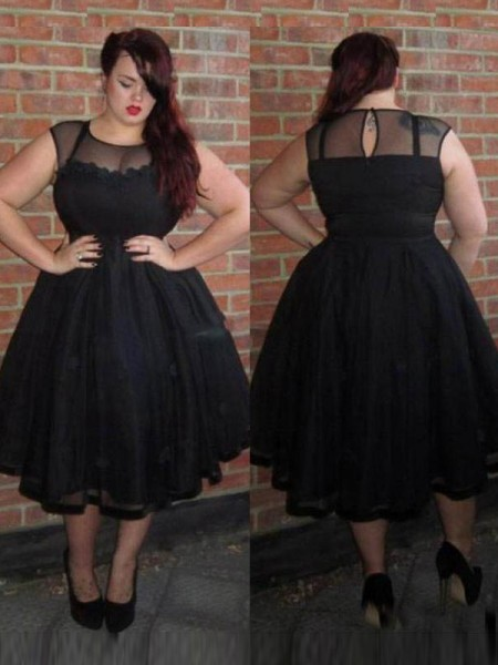 A-Line/Princess Scoop Ankle-Length Tulle Plus Size Dresses with Applique