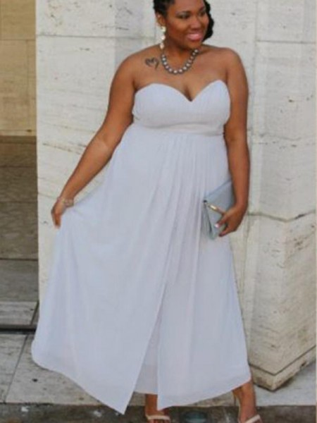 A-Line/Princess Sweetheart Ankle-Length Chiffon Plus Size Dresses with Ruched