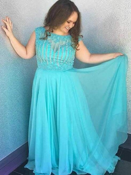 A-Line/Princess Bateau Sweep/Brush Train Chiffon Plus Size Dresses with Beading